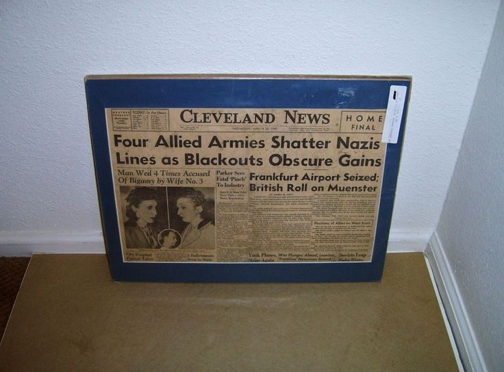 1945 March 28, 1945 Cleveland News Allied Armies Shatter Nazis Lines Matted!