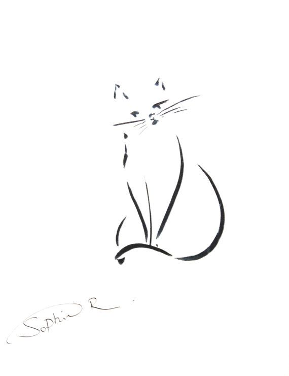 Line Drawing In C : Cat minimalist abstract art print from original ink by