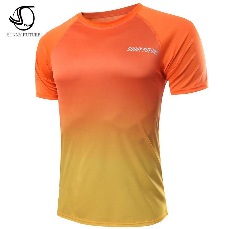 SUNNY FUTURE Brand high-quality Men T-shirt fashionable 2016 summer men slim T-shirts men's short sleeve fitnessT-shirt