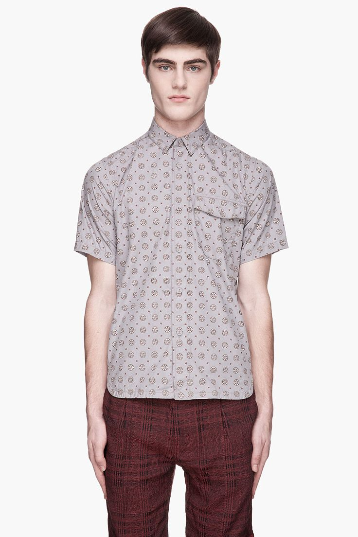 WHITE MOUNTAINEERING Gray and burgundy Broad Wood Mosaic Pattern Print shirt