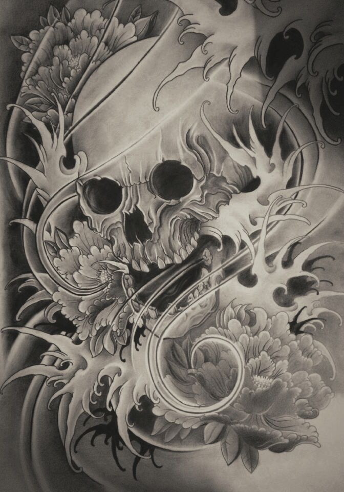 skull tattoo japanese design