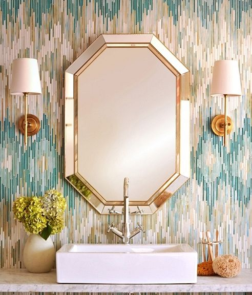 the ikat print with the mirror is very chic