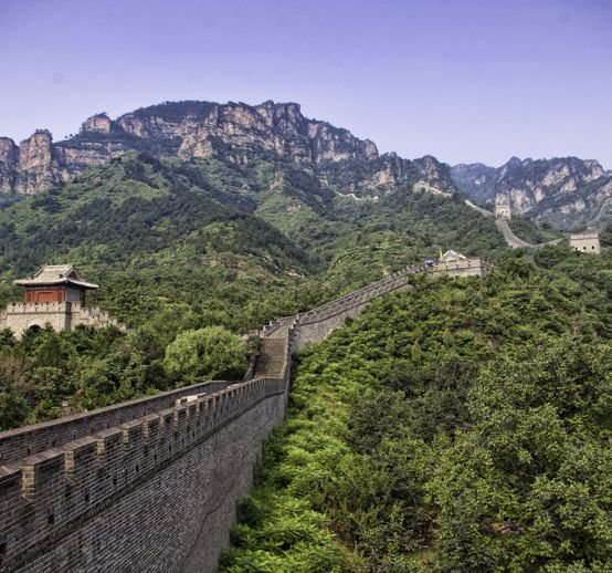 The Great Wall stretches up the mountainside at Huangyaguan in Hubei province.