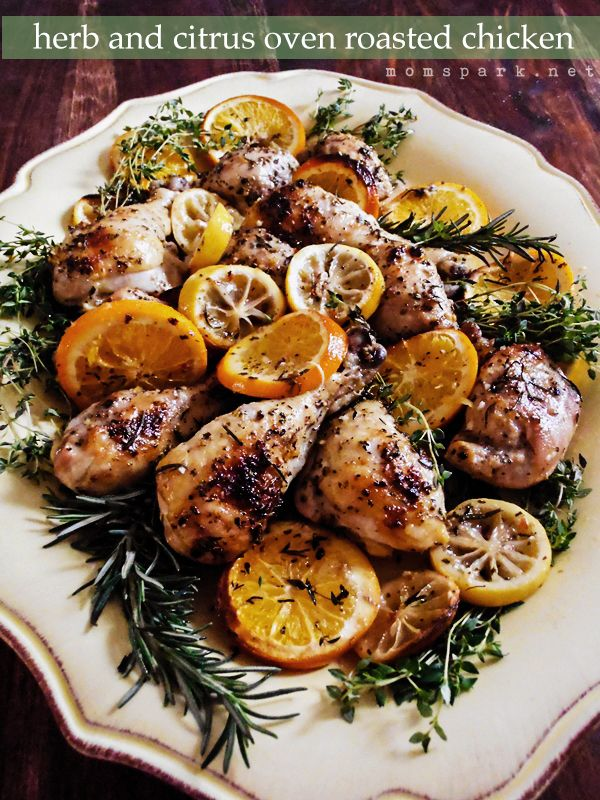 Roasted chicken can be beautiful and elegant when cooked with fresh herbs and sliced citrus. A large platter and a few reserved herbs are all you need to present a gorgeous dinner.