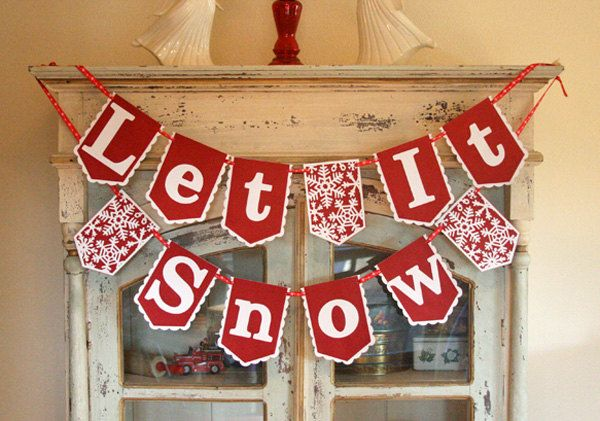 Let It Snow Christmas Banner Garland by AveryleeDesigns on Etsy, $18.00
