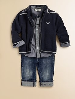Armani Junior - Infant's Zip-Front Logo Cardigan. OMG!!!! Wish I could afford!  I'll just go with the cheaper option but, love the look!