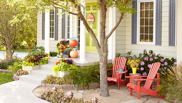 Transform an entry using little more than paint, plants, and hardscaping. -- Lowe's Creative Ideas