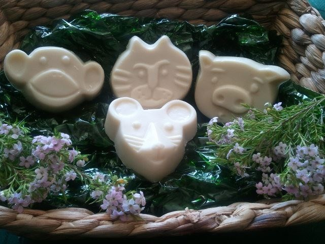 Animal Critter Goats Milk Soap Basket - $11.95    1 x Monkey  1 x Cat  1 x Pig  1 x Mouse    Natural soap basket for the kiddies. Comes with either Lavender or Sweet orange essential oil.    Please email naturalblossoms@gmail.com or find me on facebook.