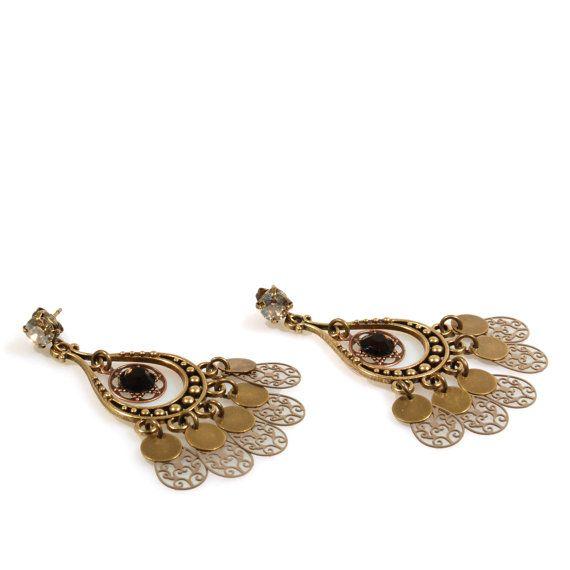 Bronzen oorbellen Swarovski, kerst oorbellen taupe, dames cadeau handgemaakt, gypsy sieraden boho stijl, lange oorbellen brons koper