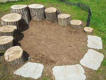 Tree stumps of various height create a natural goat playground. Natural stone or cement pavers will help wear hooves in between trimmings.