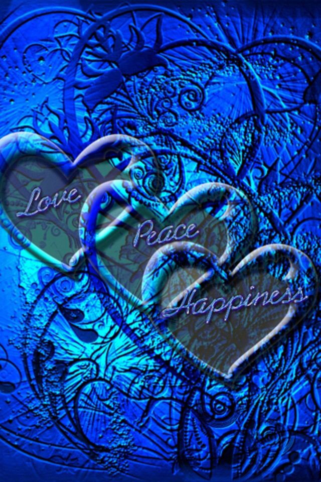 Love, peace, happiness on blue background