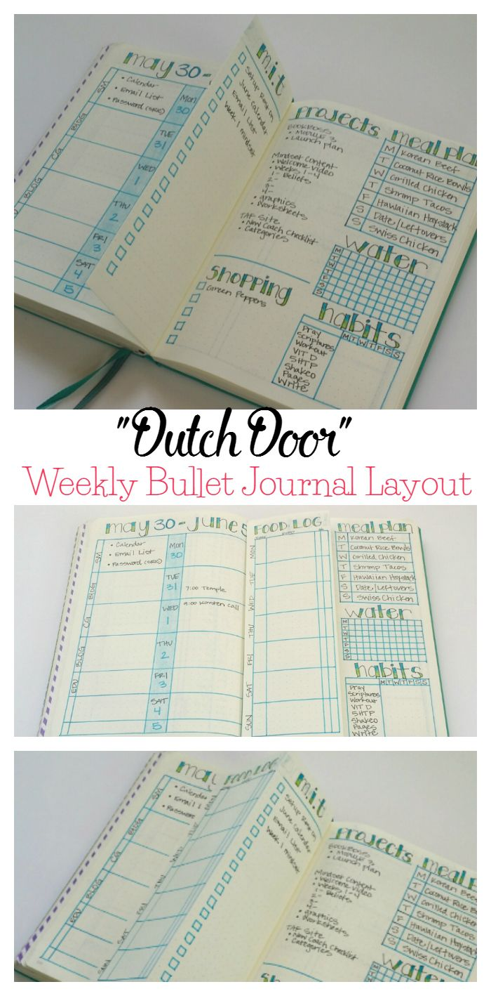 "Trying out a new weekly layout this week with a folded ""dutch door."""