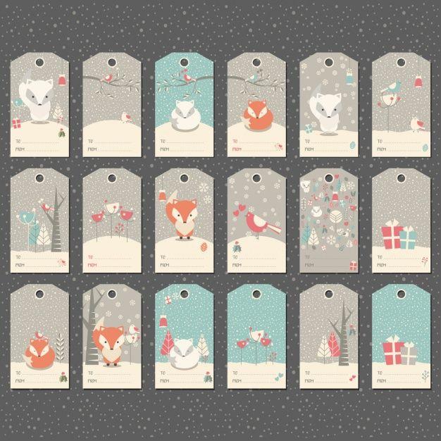 Colección de etiquetas de invierno Vector Premium