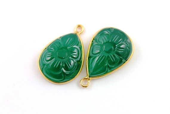 Natural Green Onyx Bezel Pear Shape Component with flower