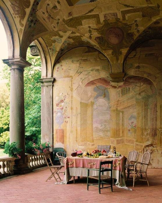 The Villa Torrigiani..as seen in the book- Walls by Florence De Dampierre. Seventeenth century frescoes adorn the loggia of the 16th century Renaissance Villa Torrigiani outside Lucca (Photo by Pieter Estersohn)