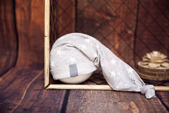 newborn baby boy strech cotton grey with white stars hat