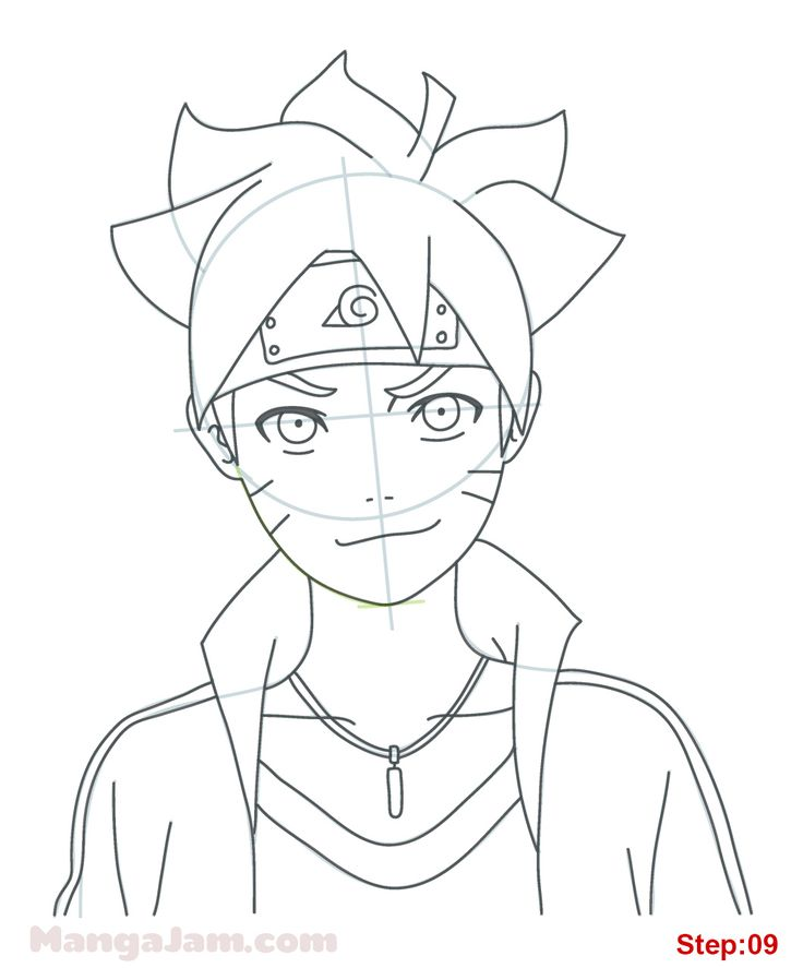 How to Draw Boruto Uzumaki from Naruto step 09