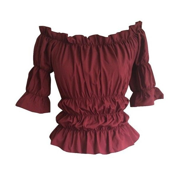 Red Gothic Peasant Gypsy Medieval Pirate Off Shoulder Wench Burgundy... ($26) ❤ liked on Polyvore featuring tops and blouses