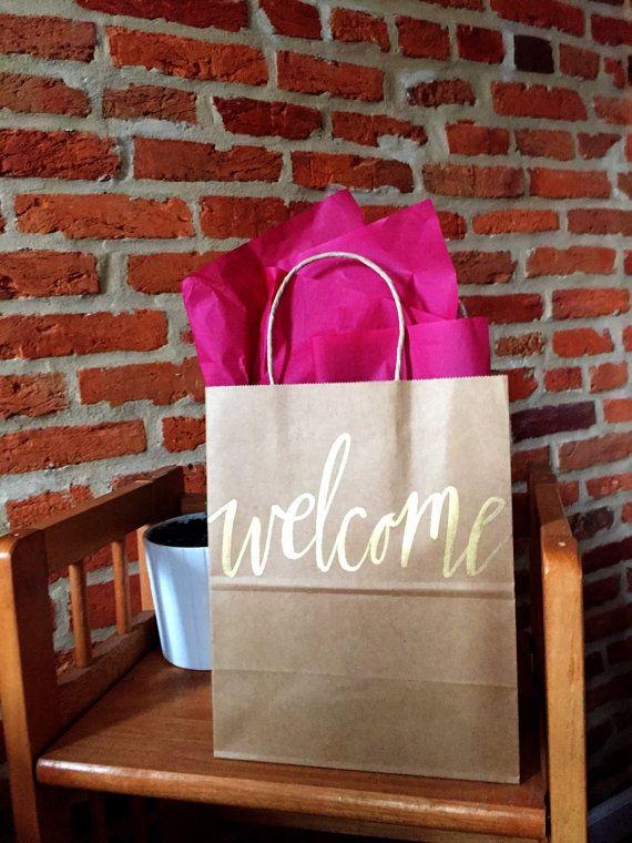 Wedding Welcome Bags on Etsy - Calligraphy Kraft Brown Paper Gift Bag by ShotgunningForLove