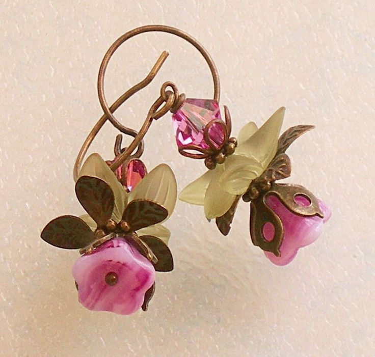 Love these metal, glass & crystal flower earrings