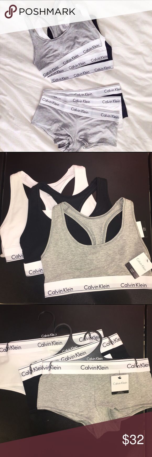 Calvin Klein Bralette and BoyShort Underwear Set Pick your color! Black, white, or gray Calvin Klein sports bra and boy short panty set. All are brand new, with tags attached. Absolutely no flaws whatsoever! All sizes available in each, extra small, small, medium, large, and extra large. Super soft cotton material; sleep in it, work out in it, or lounge! Calvin Klein Intimates & Sleepwear Panties