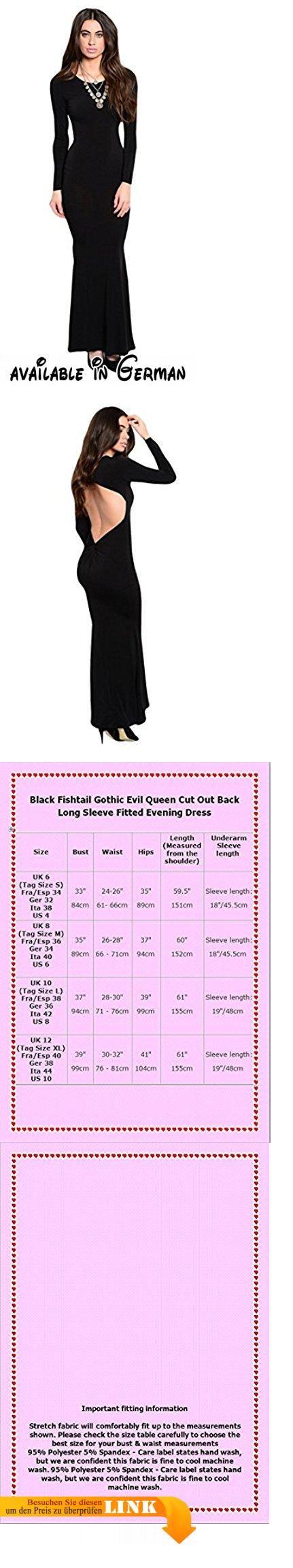 Schwarz (Backless Evening Dress) Abendkleid mit Rückenausschnitt. Gr.38. Ein auffallend, elegant Kleid mit Rückenausschnitt u. schmeichelnden Twist an der Rücktaille. Aus weichem, dehnbaren Stoff gemacht mit langen, eng geschnitten Ärmeln. Fantastisch Fischschwanz Saum für schöne Bewegung.. Können Sie es mit einem Bodystocking tragen, wenn Sie kalt oder schüchtern fühlen. #Apparel #DRESS