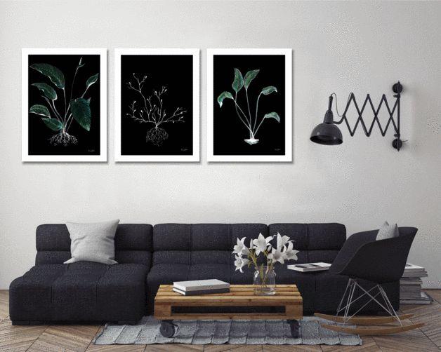 """Obrazy na płótnie Tryptyk """"Leaves"""" /3 szt. - Amplituda-Studio - Wydruki na płótnie"""
