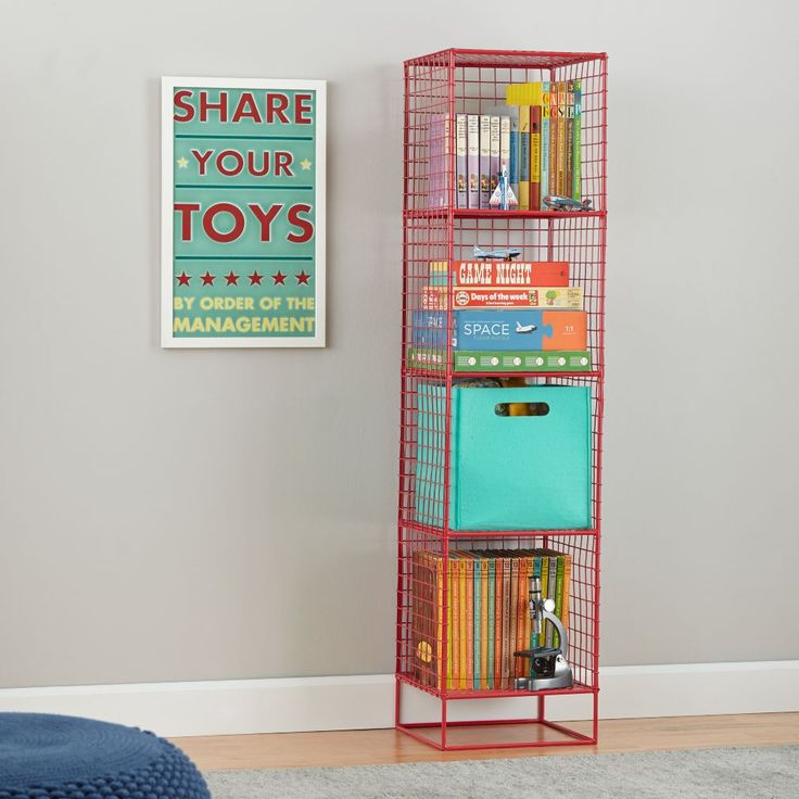 Shop On the Grid Modern Steel Wire Bookcase (Red).  Inspired by the functionality of steel lockers, our On the Grid Bookcase was designed to fulfill all your elementary storage needs.