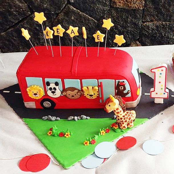 Fun cake at a Wheels on the Bus boy birthday party!  See more party ideas at CatchMyParty.com!