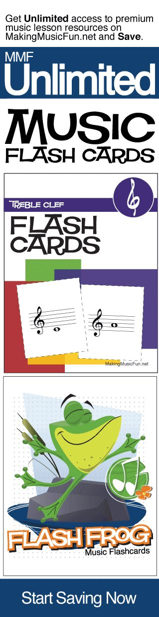 Get Unlimited music flash cards and music theory resources with MMF Unlimited and Save. MMF Unlimited gives you instant access to every music education resource on MakingMusicFun.net for one year at a great price.