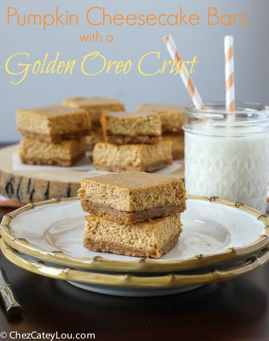 Smooth and creamy pumpkin cheesecake filling is poured over a Golden Oreo crust - these Pumpkin Cheesecake Bars are an easy way to get your pumpkin cheesecake fix!