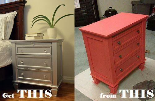 nightstand redo, nightstand upscale, diy nightstand, painted nightstand, silver nightstand, metallic nightstand diy bedroom