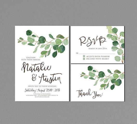 Greenery Wedding Invitation Printable Minimalist Suite Modern Outdoor Invites Eucalyptus Watercolor Neutral Matching Rsvp Save