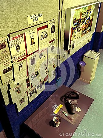 Interior of a district police precinct, with the board of wanted people and diverse announcements, above a table with an evidence bag, police sign, gun and cup of coffee.