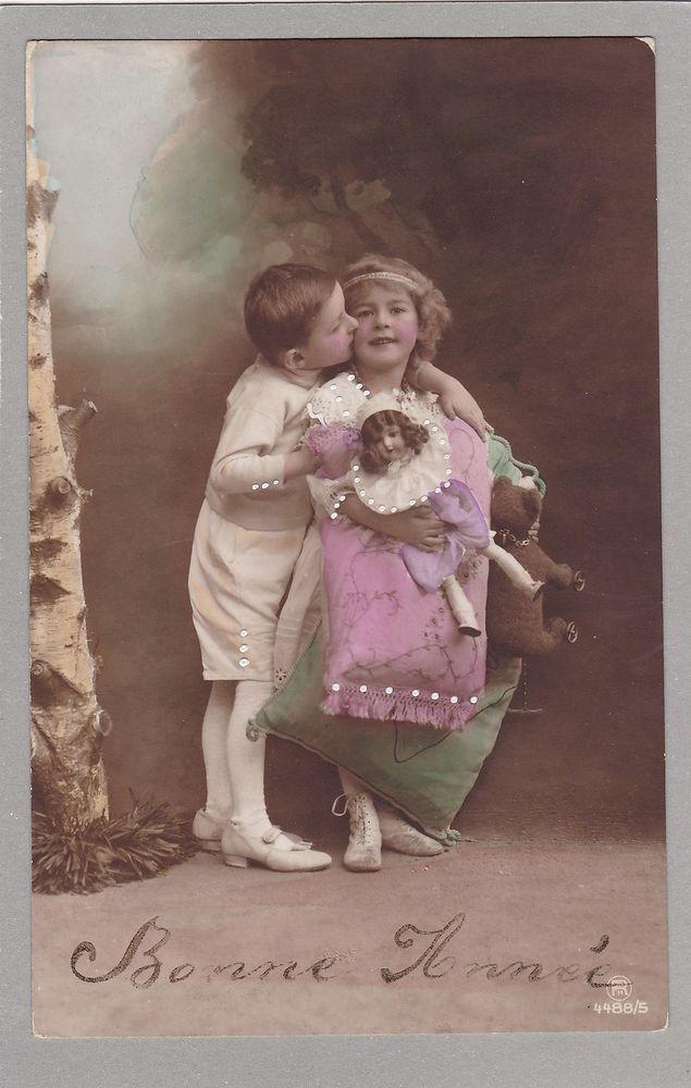 Pretty Antique PC - Boy Kissing Girl - Teddy Bear - Doll - Poupee - Enfants