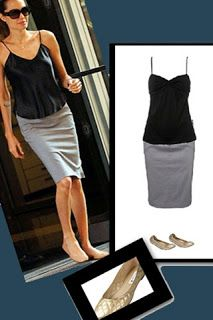 Angelina Jolie's Style: A sleek black cami, pencil skirt, and comfy Lanvin ballet flats.