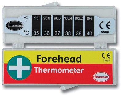 Forehead Temperature Thermometer - Quick and safe to use strip forehead thermometer uses heat sensitive liquid encased in plastic film. Ideal for small children. Comes complete with protective case and full instructions.