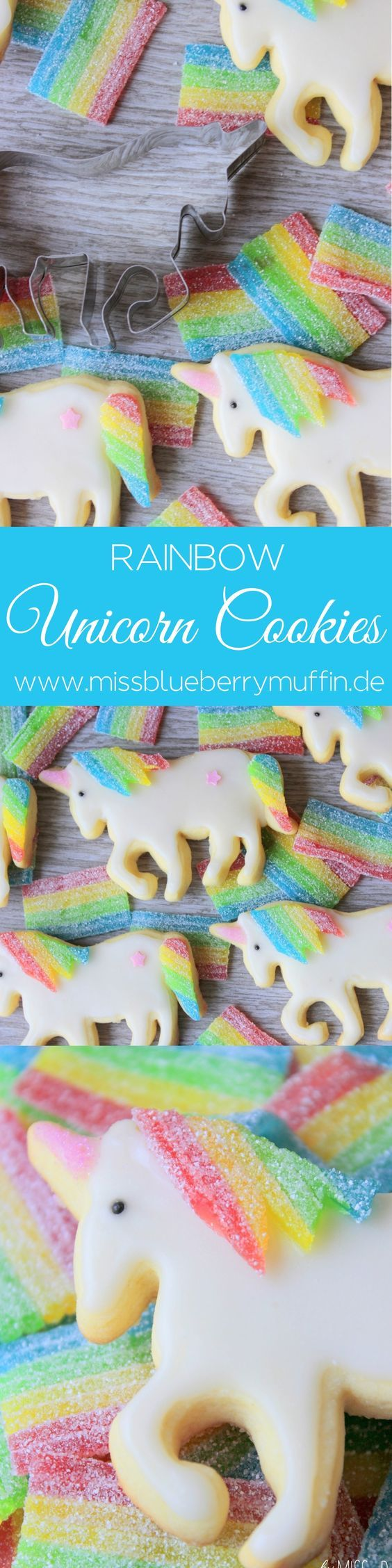 Regenbogen-Einhorn-Cookies! Süßer geht es nicht! <3 // Rainbow Unicorn Cookies | foodieeee | Pinterest