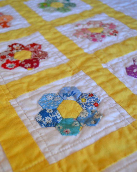 appliqued Hexagon Flower Doll quilt - reproduction 1930s feedsack fabrics