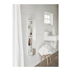 "BRICKAN Mirror with storage unit, white - 7 7/8x39 3/8 "" - IKEA"