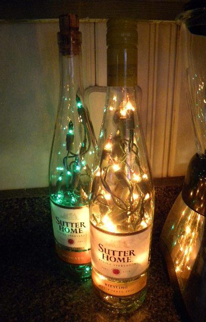 2 Lighted Wine Bottles Sutters Home Moscato and Reisling From VintageShop