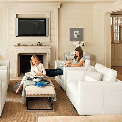 Tv Over Fireplace COULD Work If Concealed And Not Too High Would Do This Arrangement Decorating Living RoomsRoom