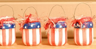 Painted Flag Lanterns out of Baby Food Jars