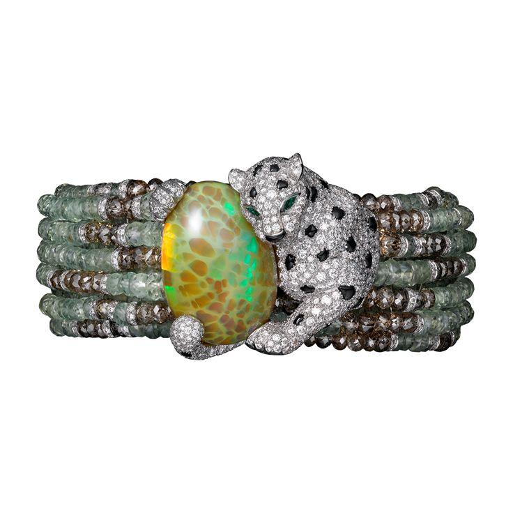 Panthère de Cartier Haute Joaillerie Armband - Weißgold, Opal, Chrysoberylle, Smaragde, Onyx, braune Diamanten, Diamanten - Fine Armbänder für Damen - Cartier