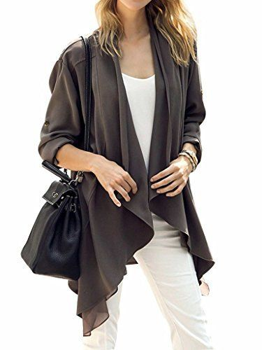 New Trending Outerwear: Joeoy Womens Roll Up Sleeve Open Front Waterfall Draped Trench Coat. Joeoy Women's Roll Up Sleeve Open Front Waterfall Draped Trench Coat   Special Offer: $17.99      155 Reviews Our size is Asia size,not US/UK size. Style-1 Asian S(US 0-2):Shoulder:14.96in,Length:31.89in,Sleeve:22.05in Asian M(US 4):Shoulder:15.35in,Length:32.28in,Sleeve:22.44in Asian...