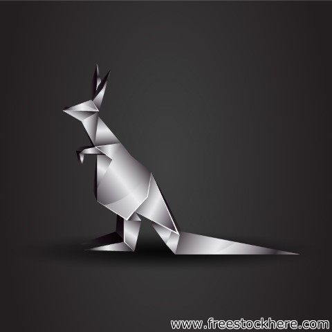 Vector Origami Chrome Kangaroo - 227017774