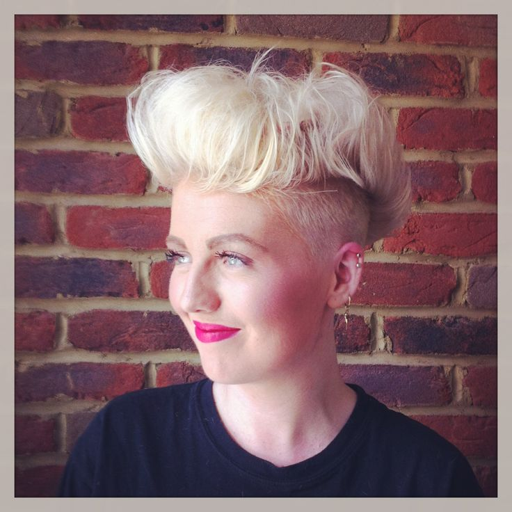 Ladies high top. Shaved undercut, textured length on top. Back-combed for volume