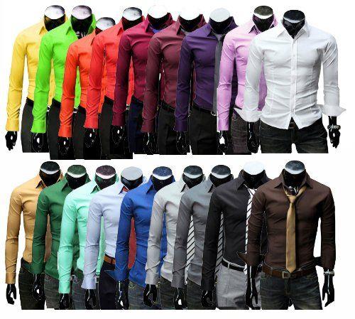 KAYHAN Langarmhemd Slim Fit 20 Farben zur Auswahl S-XXXL