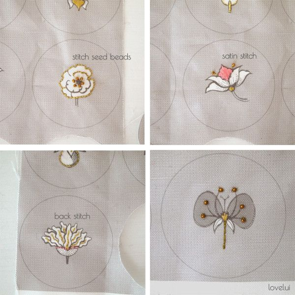 DIY Embroidered Button Project - Botanical Button Panel
