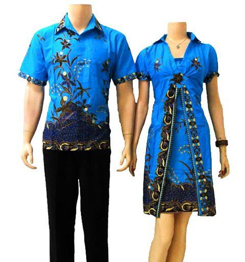 Baju batik sarimbit couple pasangan modern warna biru SB02 di http://sekarbatik.com/batik-sarimbit-couple/
